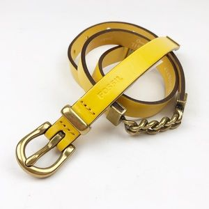 Fossil Yellow Chain Link Belt size Small